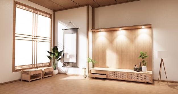 Armadio in legno nella moderna stanza vuota e parete bianca su stile giapponese della stanza del pavimento bianco