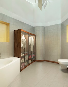 Mobile in legno per biancheria intima e asciugamano con accappatoi con ante trasparenti di vetro in un bagno moderno