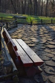Panchina in legno intagliata fatta di tronchi spessi in una foresta estiva con rivestimento in legno