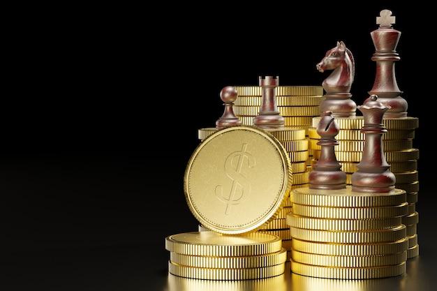 Set di scacchi in legno sopra pile impilate di monete d'oro in uno sfondo nero scuro. illustrazione 3d