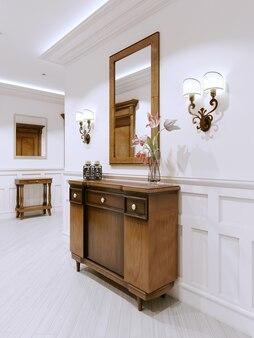 Comò in legno in un corridoio in stile classico. corridoio interno nell'appartamento. rendering 3d.