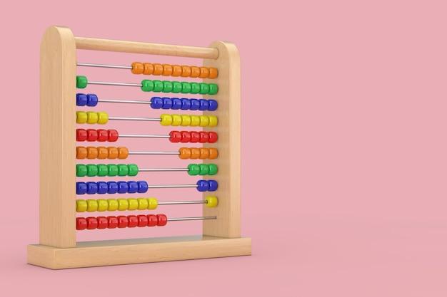Giocattolo di legno dell'abaco per bambini per imparare a contare su uno sfondo rosa 3d rendering
