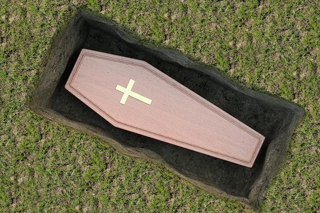 Bara di legno con croce dorata e maniglie nella tomba del foro di terra su sfondo bianco. rendering 3d