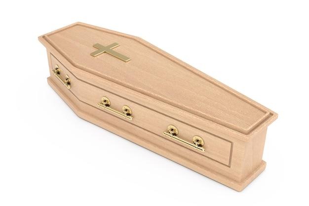 Bara di legno con croce dorata e maniglie su sfondo bianco. rendering 3d