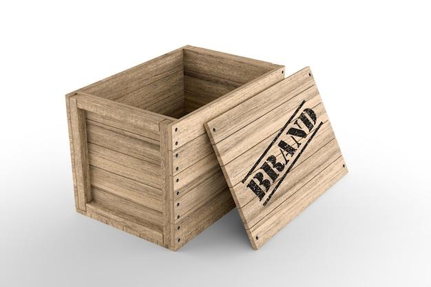Cassa di legno con testo del marchio stampato su sfondo bianco. rendering 3d