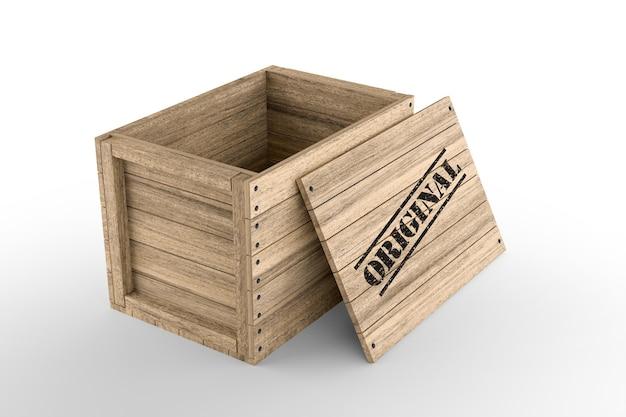 Cassa di legno con testo originale stampato su sfondo bianco. rendering 3d