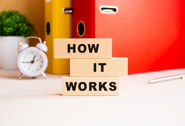 Cubi di legno impilati uno sopra l'altro compongono la scritta come funziona. progettare sul desktop.