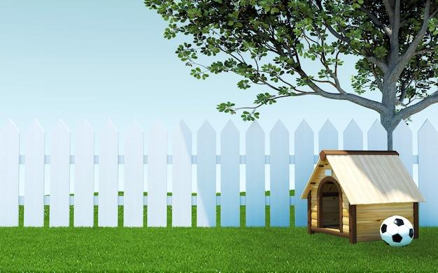 Fossa di cane di legno sotto l'ombra dell'albero sul prato dell'erba verde con pallone da calcio