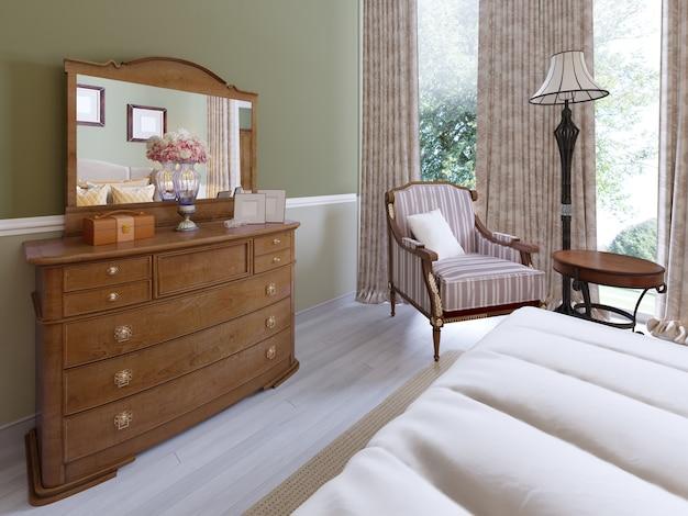 Comò in legno con specchio e armadietti scorrevoli nella camera da letto classica. rendering 3d.