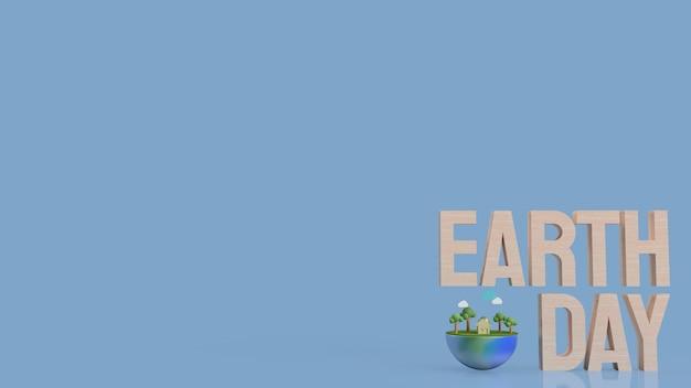 Testo giornata della terra in legno sulla superficie blu