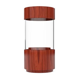 Cilindro di legno della vetrina del negozio di vetro vuoto su sfondo bianco. rendering 3d.