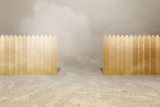 Staccionata in legno con sfondo di nebbia fitta
