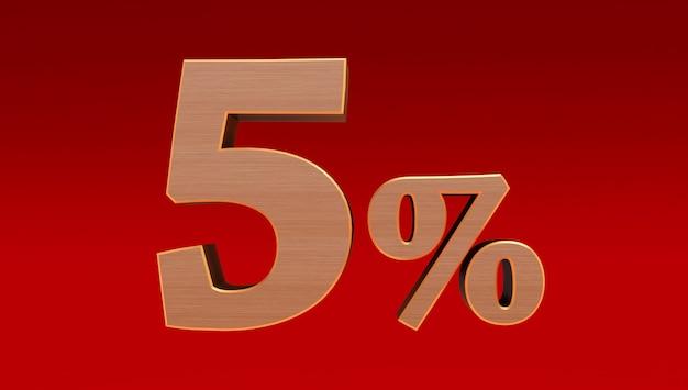 Legno cinque (5) per cento isolato su uno sfondo rosso., 5 per cento di sconto
