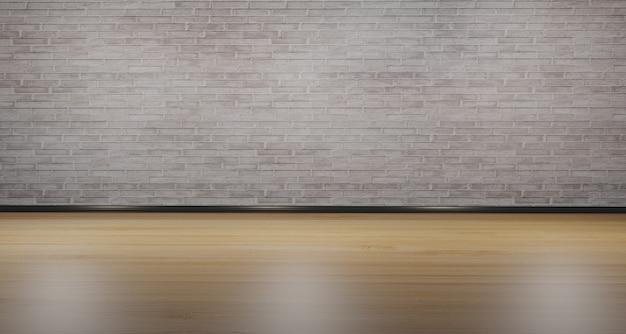 Pavimento in legno e muro di mattoni bianchi posizionamento del prodotto stanza vuota