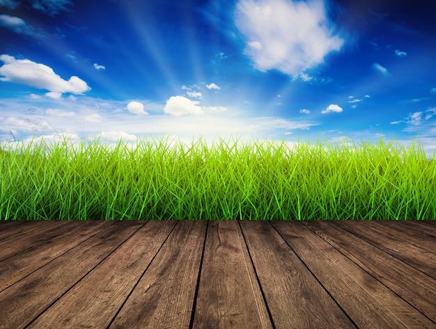 Pavimento in legno con erba verde e sfondo azzurro del cielo
