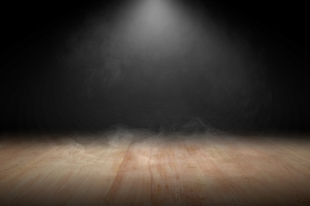 Pavimento in legno con fumo e luce