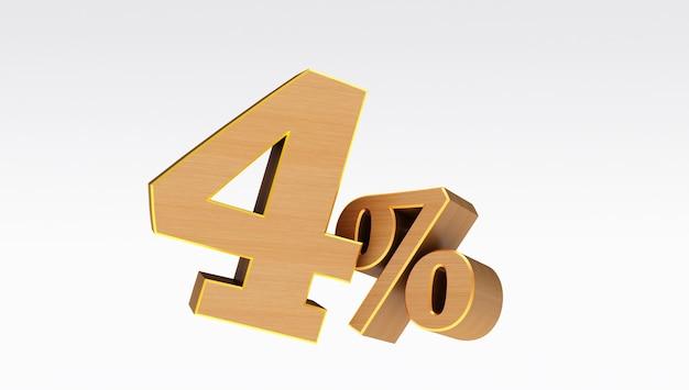 Legno quattro (4) per cento isolato su uno sfondo bianco., 4 per cento di sconto