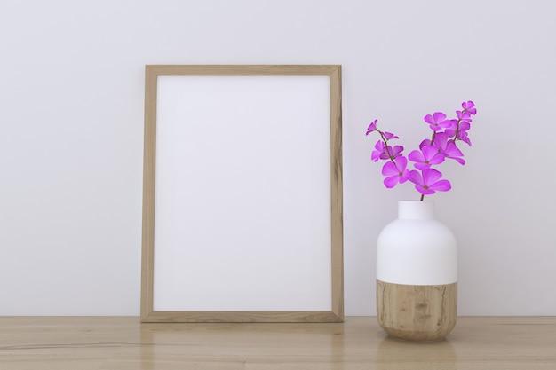 Mockup con cornice in legno con vaso di fiori