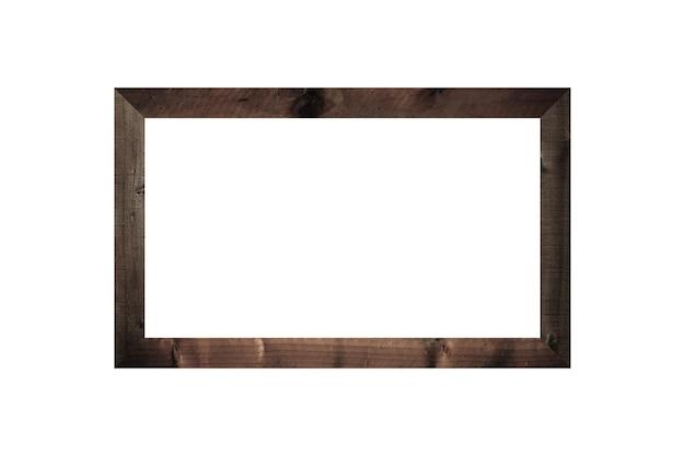 Cornice in legno immagine isolata su sfondo bianco per il design nella decorazione d'interni concrpt di lavoro.