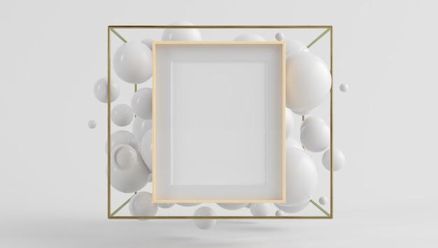 Poster con cornice in legno mock up sulla scena surreale con rendering 3d bolle galleggianti