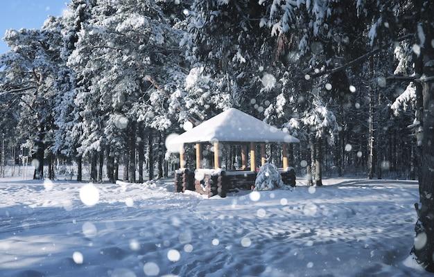 Gazebo in legno nella foresta in inverno neve bufera di neve
