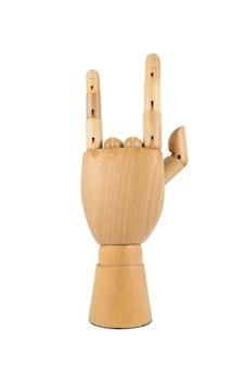 Mano in legno mostra simbolo rock and roll isolato su sfondo bianco on