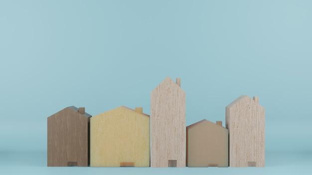 Giocattolo di case in legno su sfondo di colore blu rendering 3d
