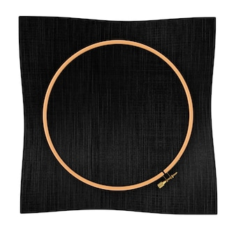 Cerchio in legno per punto croce. un telaio tambour per ricamo e tela nera con spazio libero per il tuo design su sfondo bianco. rendering 3d