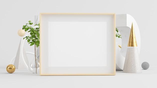 Cornice orizzontale in legno mock up sul rendering 3d sfondo astratto minimo