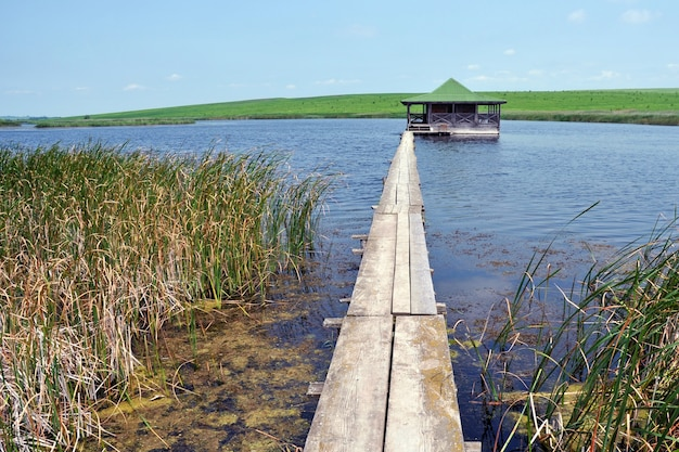 Casa in legno su uno stagno per rilassare i pescatori Foto Premium