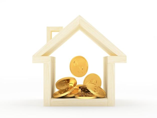 Casa in legno con un mucchio di monete d'oro all'interno