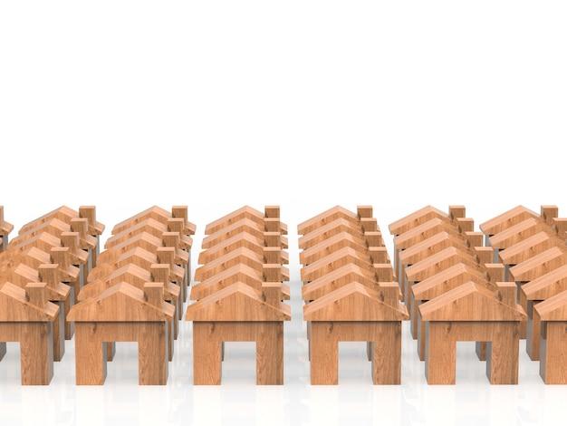 Villaggio di case in legno con case modello o case modello