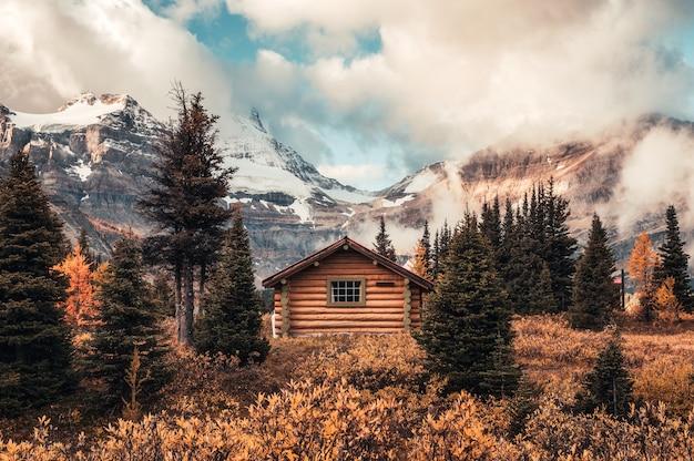 Capanna in legno con assiniboine mountain nella foresta di autunno al parco provinciale