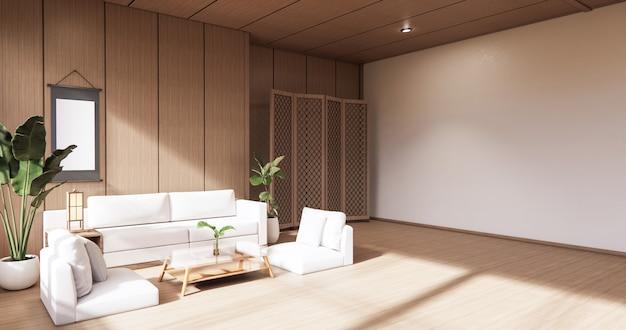 Il design degli interni in legno, soggiorno moderno zen in stile giapponese