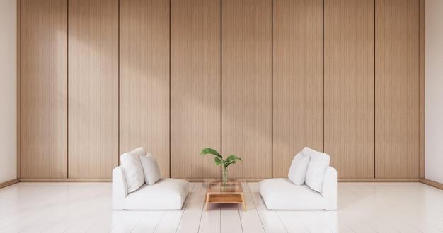 Il design degli interni in legno, soggiorno moderno zen