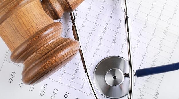 Un martelletto e uno stetoscopio del giudice di legno sulla cartella clinica. concetto di controversia medica.