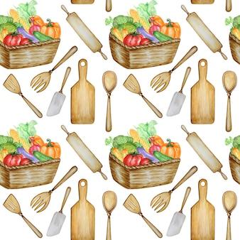 Utensili da cucina in legno e verdure senza cuciture su fondo bianco