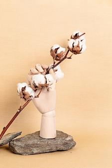 Manichino in legno mano che tiene ramo di cotone