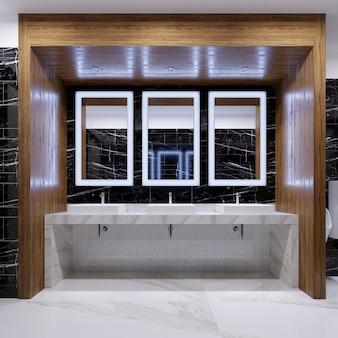 Nicchia in legno con specchi, luci e lavandini sulla parete di marmo nero in un bagno pubblico. rendering 3d