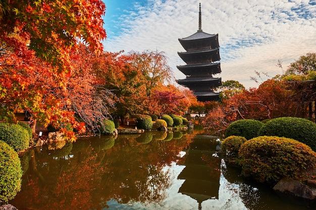 Pagoda in legno del tempio toji, kyoto in giappone Foto Premium