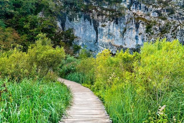 Via di legno sopra l'acqua al parco nazionale di plitvice. patrimonio mondiale dell'unesco in croazia