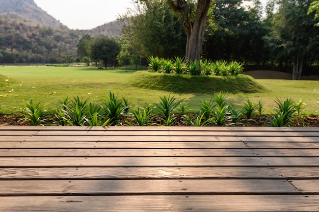 Patio in legno con giardino sul prato al tramonto sullo sfondo