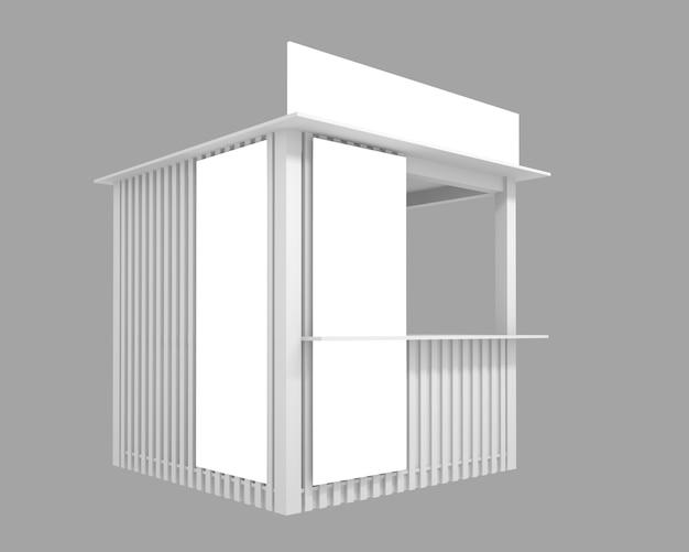Padiglione di legno con spazio per la pubblicità, illustrazione 3d