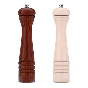Perrer in legno o mulini per smerigliatrici di sale su sfondo bianco. rendering 3d