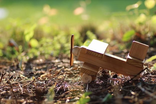 Aereo in legno a terra all'aperto
