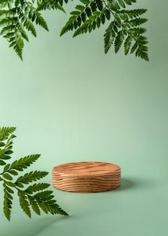 Podio in legno per mostrare prodotti cosmetici con foglie di felce su sfondo verde. natura morta moderna.