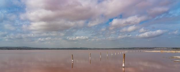 Pali di legno nel lago salato rosa con riflesso sull'acqua dalle nuvole, laguna rosa, torrevieja, panorama