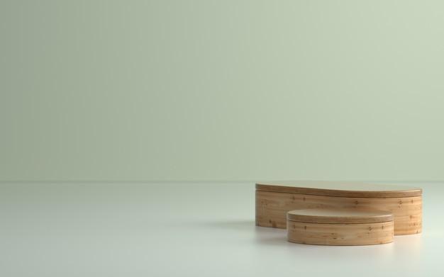 Podio o palcoscenico di prodotti in legno in una stanza vuota con luci soffuse