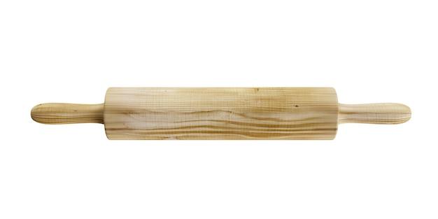 Mattarello in legno isolato su sfondo bianco