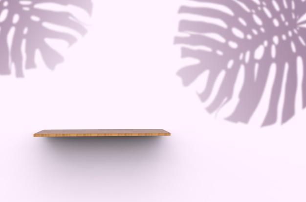 Ripiano in legno su uno sfondo rosa con ombre di palme